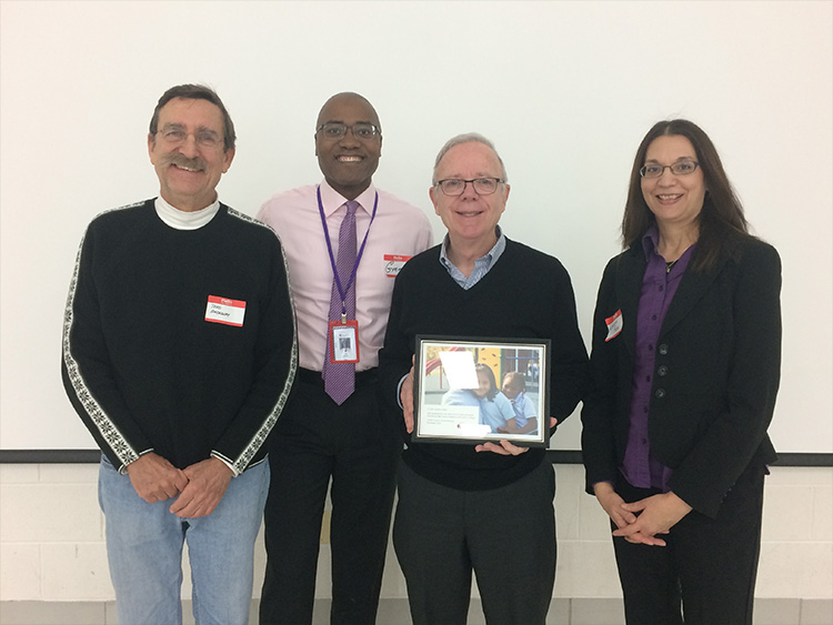 From left to right:  Todd Rockway, St. Paul Lutheran Church; Greg White, CEO LEARN Charter Network; Michael Knight, St. Joseph Catholic Church; Laura Rios, Waukegan to College